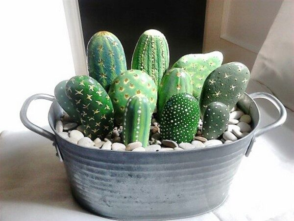 DIY Painting Cactus Rock Art Ideas