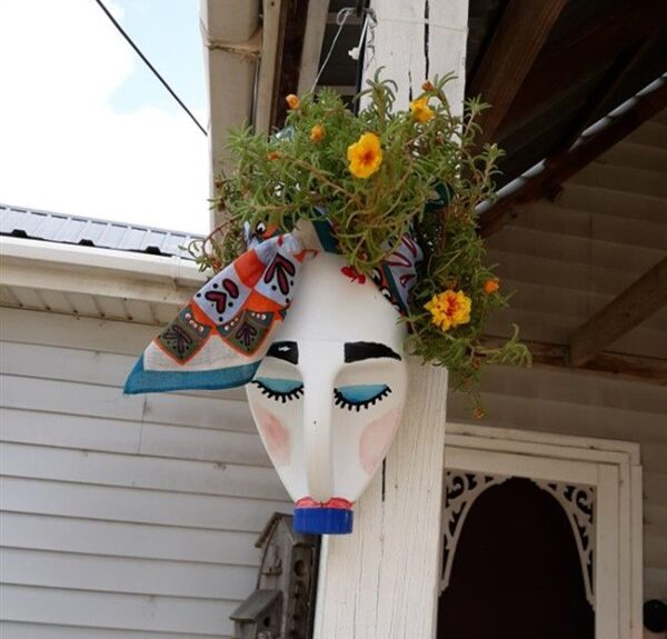 DIY Face Shaped Painted Plastic Bottle Planters