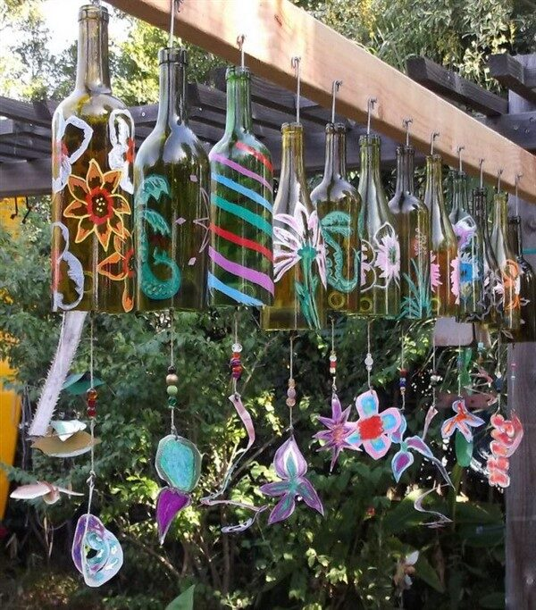 Decorative Wind Chime from Wine Bottle