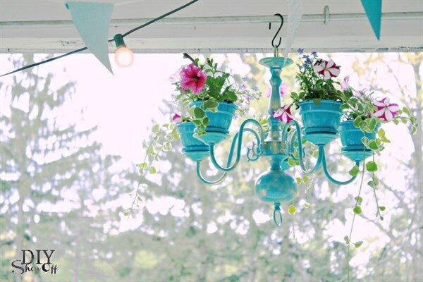 Old Chandeliers Turned Into New Hanging Planters