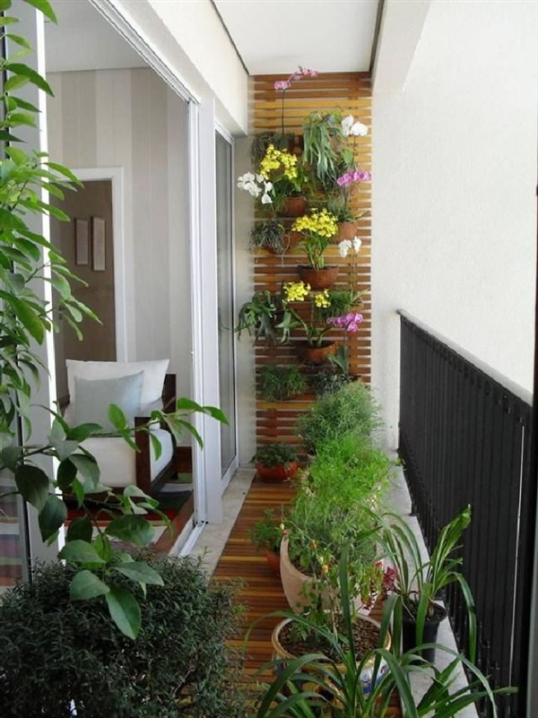 green plant wall on balcony