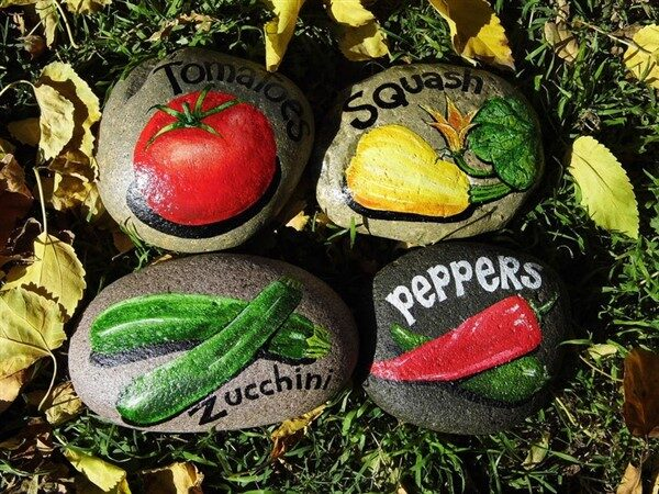 Vegetable Stone Markers For Gardens & Balconies