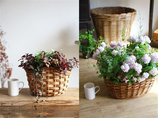 Round Wicker Planter Basket for Indoor and Outdoor Decoration