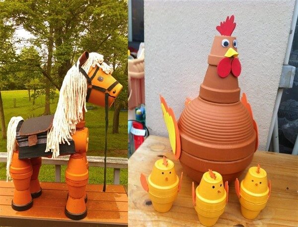 Creative Animal Figures With Clay Flower Pots